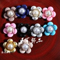 decorative buttons - Newborn Bulk Decorative Metal Buttons For Craft Cheap Flatback Alloy Pearl Buttons For Flower Centre MM Colors ZK476