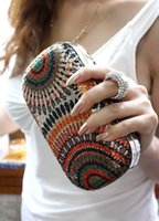 Wholesale 2014 new fashion desigual fabric two side cover paillette with fingger ring rhinestone evening bag for women party bag with chain colors