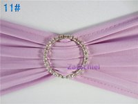 Wholesale 2016 HOT SALE light purple Spandex chair band with diaminds bucke lycra sash for chair cover of wedding decoration