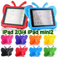 Wholesale iPad Mini iPad2 Cases inch Cover Case Butterfly ShockProof Resistance Cover Stand Protective Casing EVA Foam Handle Back Shell Cases
