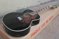 Wholesale Top Quality Spruce Top J200 in Black Acoustic Guitar Golden Hardware