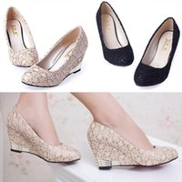 women shoes - HOT Women Sexy Ladies Spring Pumps Lace High Heels Pointed Shoes Women Wedges Cut Outs Shoes Heel Height cm Black Size TZ0069