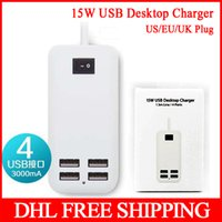 Wholesale 500pcs A W USB Desktop Charger Power Adapter For Galaxy S4 S5 Note m Line USB Ports US EU Plug