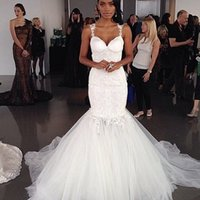 galia lahav - Galia Lahav Mermaid Sweetheart Wedding Dress Puffy Sexy Beach Tulle Ruffle Backless Custom Bridal Gowns