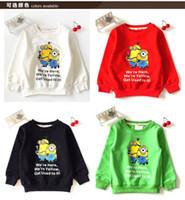 Wholesale 20pcs New Arrival Kids Cartoon Despicable Me Design Round Minion Collar Hoodies Children Wear Tshirt Kids Sweatshirt Clothes