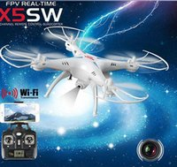 Wholesale 2016 Original Drones SYMA X5SW WIFI RC Drone FPV Helicopter Quadcopter with HD Camera G Axis Real Time RC Helicopter Toy