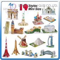 architecture construction - Sales Promotion Mini Qute Mini size world architecture d paper diy Construction model cardboard jigsaw puzzle educational toy