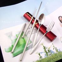 Wholesale sets Mini Tableware Chopsticks Spoon Fork set pen travel fork set dinner use portable dinnerware