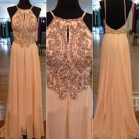 Wholesale 100 Real Picture Hot Sale A Line Chiffon Evening Dresses Spaghetti Straps Sleeveless Beads Sequins Floor Length Open Back Prom Dress
