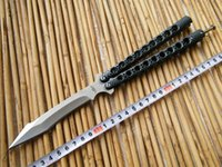 Wholesale Deluxe CM THE ONE Bird of prey camouflage Balisong Butterfly knife whloe stainess steel Handle C Irregular edge Tactical knives