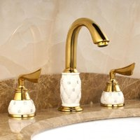baths and basins - Fashion gold brass ceramic diamond hot and cold wash basin faucet luxury faucet tap toilet bath mixer M