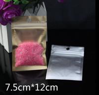 7.5 * 12 cm del papel de aluminio (en el interior de oro) + volver a sellar claras de la válvula de la cremallera al por menor plástico Embalaje Paquete bolsa con cierre de bloqueo Ziplock bolsa de paquete al por menor