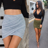 american apparel denim skirt - 2016 American Apparel Street Fashion Women Lady High Waist Short Skirt Sexy Bandage Bodycon Cross Fold Pencil Skirts Colors
