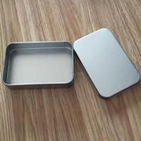 tin box - 200pcs Plain silver tin box9 cm rectangle tea candy business card usb storage box case colors