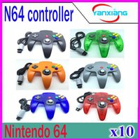 al por mayor nintendo n64-Nuevo color 5 de mango largo Pad Controller Joystick sistema de juego de Nintendo 64 N64 sin embalaje al por menor 10 PC ZY-PS-05