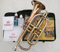 Wholesale American Bach Corneta Cornet Gold Lacquer B flat Bb professional trumpet Top musical instruments Brass trompete trumpeter bugle