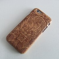 wood dragon - Genuine Real Natural Wood Bamboo Phone Case For iPhone Plus Dragon Head Design On Cherry Wood Screen Protector