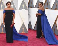 Wholesale 2016 Oscar Mindy Kaling Celebrity Red Carpet Dresses Sexy Black and Blue Off Shoulder Sheath Long Formal Evening Dress