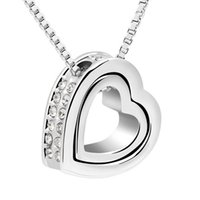 attracting love - Korean jewelry attract new color sorting double heart full diamond necklace rain love female short paragraph Factory Outlet