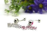 Wholesale Shining Sexy Body Piercing Jewelry Letter Rhinestone Dangle Belly Navel Ring Buckle