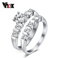Cheap TOP- 2pcs sets wedding rings for women silver plated cubic zirconia ring hot sale christmas gifts