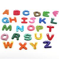 abc magnetic letters - 1set Fridge Wooden Magnet Baby Child Toy A Z ABC Educational Alphabet Letters low price