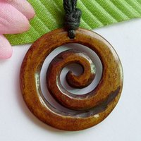carved ox bone - Free Ship NEW ZEALAND Maori Ox Bone Carved BROWN quot KORU quot Pendant Hawaiian Necklace MNG001