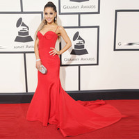 ariana grande dress - Sexy Red Spaghetti Strap Prom Dresses Inspired By Ariana Grande Sweep Train Prom Gowns Formal Party Dresses Grammy Awards For Celebrity