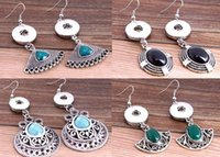 Wholesale NOOSA round turquoise ancient silver pendant earrings Valentine hollow flower earrings DIY charm popular jewelry H27