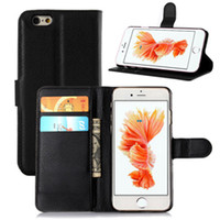 Wholesale High Quality Litchi Pattern Stand Wallet Leather Case Cover for iPhone6S with Card Slot Free Touch Pen