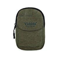 Wholesale New Fashion Men Canvas Waist Bag Flap Pocket Detachable Hook Casual Phone Bag Bum Bag Black Grey Army Green