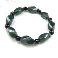 NEW- Xinjiang Hetian perlas de jade verde 8mm brazalete de diamantes con Negro Onyx cada cuenta brazalete brazaletes pulseras con alta calidad