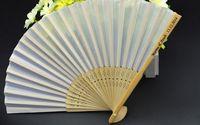 Wholesale 200pcs Customizable Bamboo Silk Fans Pure Color cm Folding Bridal Handfans Engagement Gifts H110c