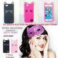 al por mayor gato iphone5-2015 más nuevos colores del caramelo del diamante Katy Perry lindo gato de la historieta caja suave del silicón Purry Kitty para iPhone5 6 6plus S6 DHL