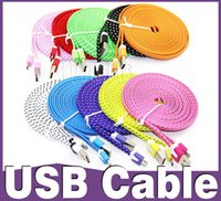 Wholesale 2016 hot For S5 S7 Micro USB Cable USB Wire Noodle Flat Colorful M ft M ft M ft For Note Samsung Galaxy S6 edge note HTC Huawei