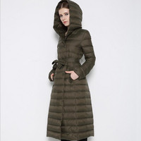 belted winter jacket - Light Long Women Down Jacket Multiple Colors Down Content Warm keep Elegant Winter Parkas with Belt Stylish Cheap Hoody Duck Down Jacket