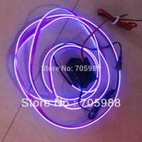 Wholesale 2 M EL Wire with drive V el cold light rays light clothes neon EL Strip Wire Rope Tube white green blue purple pink red