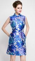 art deco print woman - Vintage Print Women A Line Dress Stand Collar Sleeveless Party Dresses