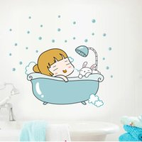bedroom bath - 10pcs wall stickers home decor A generation of fat new cartoon wall stickers baby bath bathing little girl AY1056 creative fashion sticker