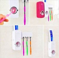 Wholesale Home Auto Toothpaste Dispenser Squeezer Brush Holder Hole Set Wall Mount Brand New Good Quality
