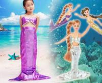 Girl Cartoon Star Cotton Blends Children's Cosplay kids girl mermaid sea-maid dresses bra tops clothing Christmas Halloween cartoon movie perform cos props party gift
