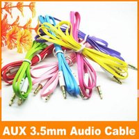 Wholesale For Samsung Audio Auxiliary Aux Cables mm AUX Cable Male StereoJack Male to Male for PC iPod CAR iPhone Colorful Flat Noodle Cord JF