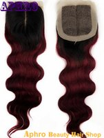 Cheap 99J Red Silk Base Lace Closure Best Virgin Brazilian Ombre Hair Closure