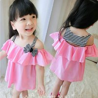 Cheap New Summer Childern's Clothing Girls Striped T-shirt Dress Bowknot Baby Sling Stitching Strapless Princess Vest Dress Pink