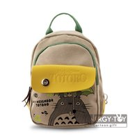 Wholesale High quality Anime My Neighbor Totoro Cosplay Fashion Canvas Shoulder Chest Bags Schoolbag backpack double use bag