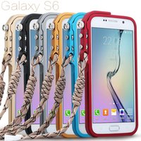aluminium rope - Kaneng Shock proof aluminium Metal protective Bumper Hard back cover cases with rope for SAMSUNG GALAXY S6 A7 NOTE HUAWEI Honor
