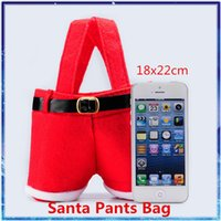 Cheap Christmas bag Santa Pants gift bag Christmas Candy Packaging Bag Flannel Bags 2014 Hot Christmas Decorations oranments 22x18cm free shipping