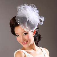 Wholesale Vintage New Style White Color Tulle Feather Pearls Wedding Bridal Hats Evening Party Headwears In Fashion In Stock Birdcage