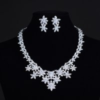 asian brocade - European and American Wedding Jewelry Set Zircon Earrings Necklace Set large flowers blooming like a piece of brocade chain HZ156