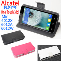 Wholesale 2014 High Quality New Original Alcatel One Touch Idol Mini X A W Leather Case Left and Right Flip Cover Case For Alcatel Phone